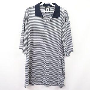 FootJoy Mens Large Striped Polo Golf Shirt Blue